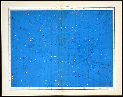 MAPS OF THE STARS #1 1856 Alex Johnston ANTIQUE CHART