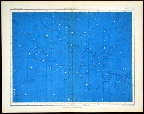 MAPS OF THE STARS #1 1856 Alex Johnston ANTIQUE CHART