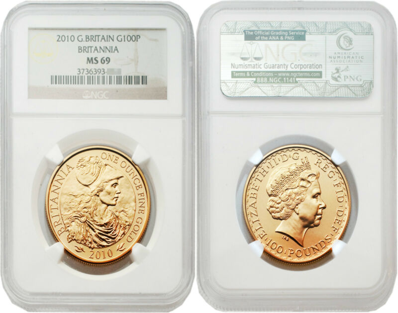 Great Britain 2010 Britannia 100 Pounds 1 oz Gold NGC MS69