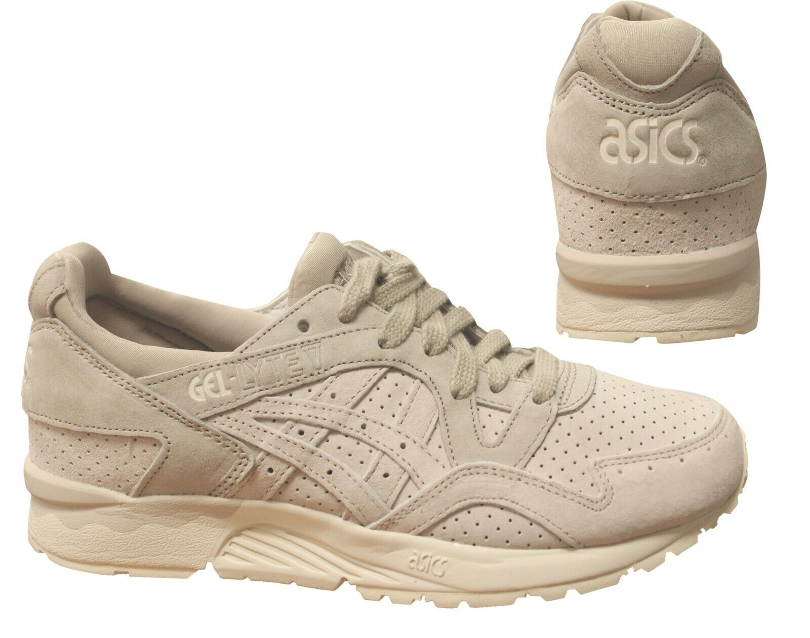 Details about Asics Gel Lyte V Grey Beige Leather Lace Up Casual Mens Trainers HL7K1 0202 X8B