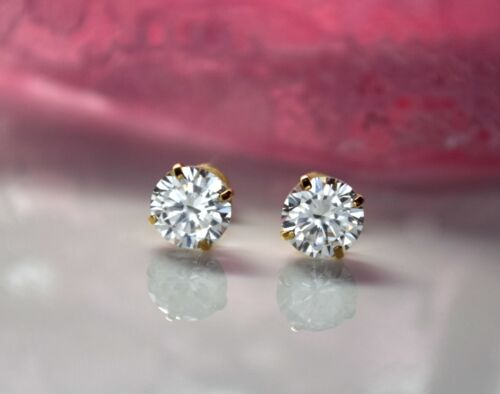 14k Yellow Gold Basket Created Diamond Round Brilliant Screw Back Stud Earrings