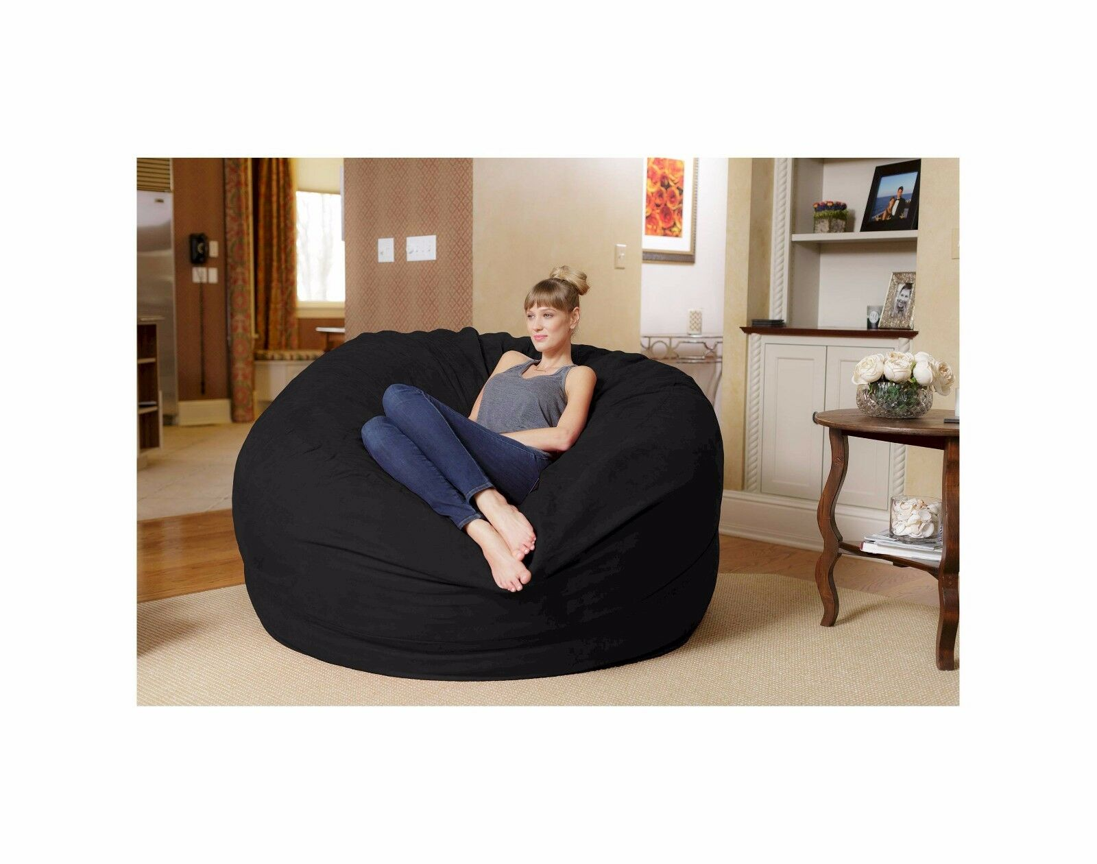 BRAND NEW Black Relax Sack 6 ft Huge Memory Foam Bean Bag Sl