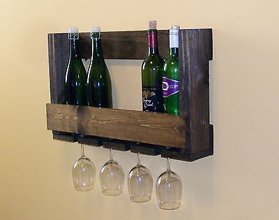 Pallet Rack (Pallet Wine Rack with Glass Holder Wedding Anniversary Gift)