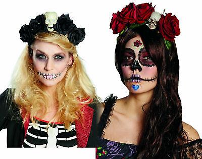 Kostüm Accessoires Haarreif m Rosen u Totenkopf schwarz o rot Halloween Karneval