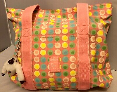 Kipling Rare 2003 Pastel Pink,Grey, Yellow Polka Dot 'It' Trust Yourself Tote