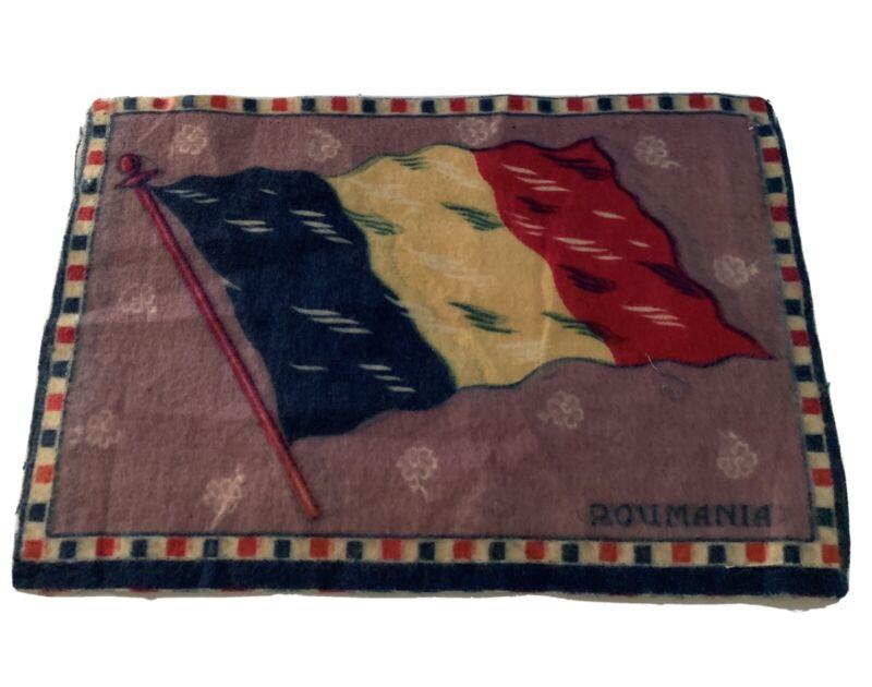 "Vintage ANTIQUE Cigar Box Tobacco Flannel Felt ROMANIA FLAG 8"" x 5.5"""