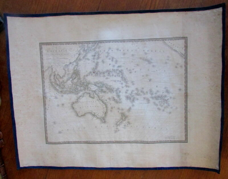 Oceania Australia Pacific 1820 New Holland Brue old map scarce & interesting