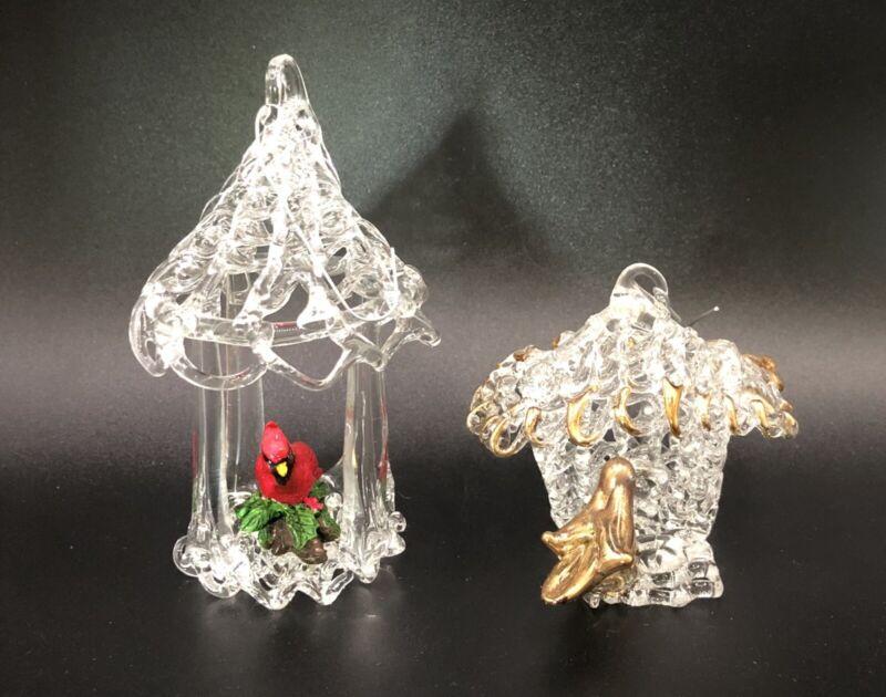"Lot 2 VINTAGE SPUN GLASS CRYSTAL Bird House Ornaments Figurines Cardinal 3"""