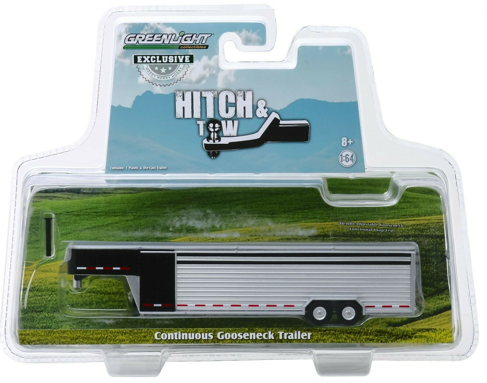 1:64 GreenLight *BLACK & ALUMINUM* Solid Row Side LIVESTOCK TRAILER NIP