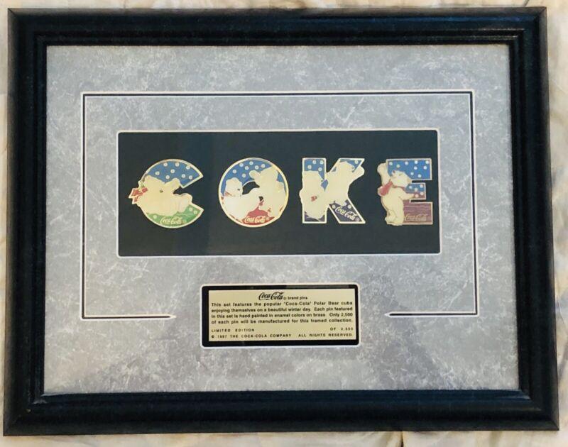 Limited Edition 'COKE' Coca-Cola POLAR BEAR CUBS Framed Collection Pin Set 1997