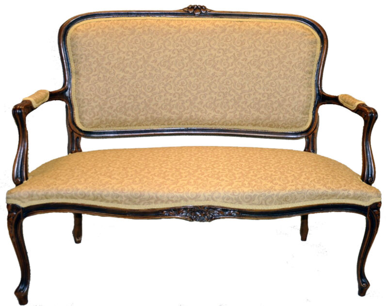 Gorgeous Louis XV Style Walnut Settee Love Seat, New Upholstery