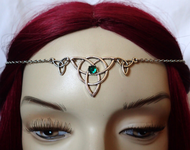 Celtic Trinity Medieval Renaissance Circlet Crown Silver Headpiece Irish Jewelry
