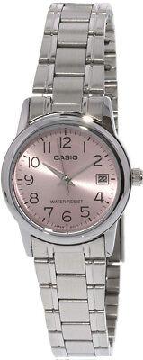 Casio Women's Analog Quartz Pink Dial Date Stainless Steel Watch LTPV002D-4B