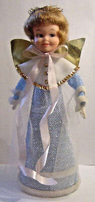Vintage 1963 Penny Brite Doll Xmas Blue Angel Tree Topper/Holiday Decoration