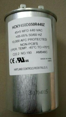 Hartland Controls 45+5 µF Dual Run HVAC Capacitor 440 VAC