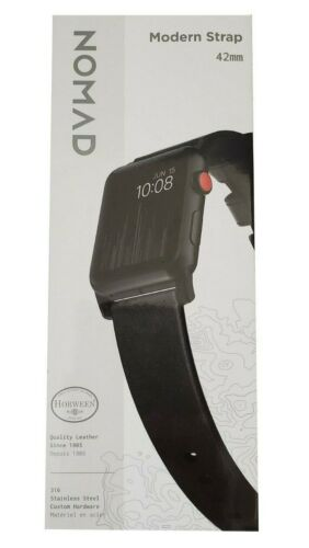 Nomad Modern Strap Leather Watch Strap For Apple Watch 42mm Slate Gray Black