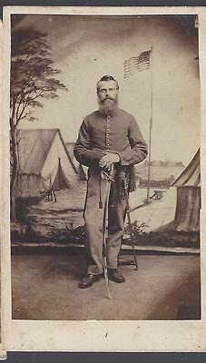 Civil War Era CDV of Union Cavalryman with Saber and Patriotic Backdrop