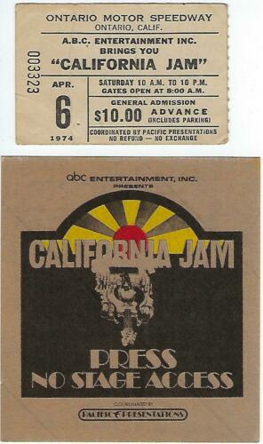 Original Vintage 1974 California Jam Concert Ticket Stub & Press Cloth Pass