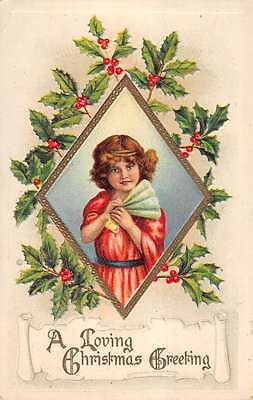 Christmas Child  Surrounded By Holly Border Antique Postcard L1075
