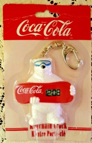 """1999 Coca-Cola Keychain Clock """"Snow Board Bear"""" Collectible ~ *Factory Sealed*"""