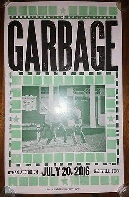 GARBAGE Ryman HATCH SHOW PRINT 2016 Band Nashville Concert Poster Tour Manson