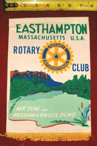 VINTAGE Rotary International Club wall banner flag     EASTHAMPTON  MASSACUSETTS