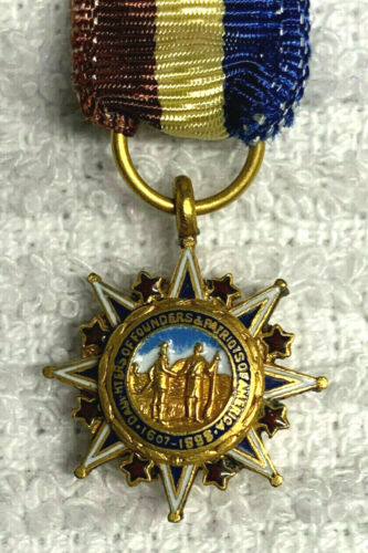 Antique RARE Daughters of Founders & Patriots Ribbon Sandwiched Medal Insignia