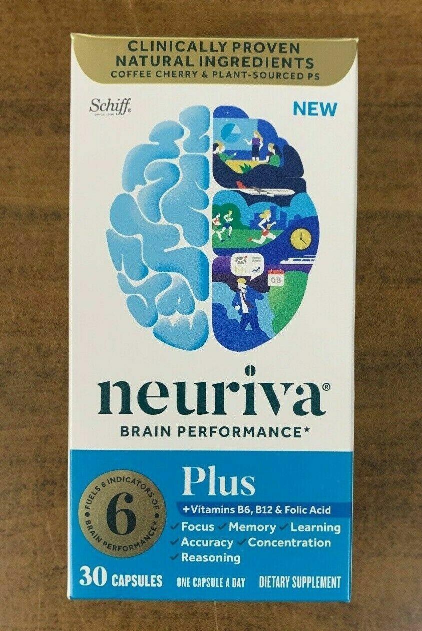 New Schiff Neuriva Brain Performance Plus Vitamins Focus Memory 30 Caps - $19.49