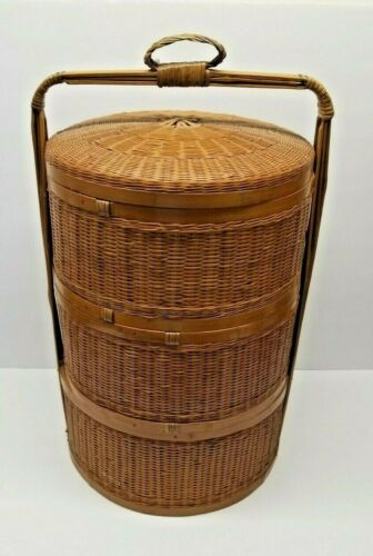 CHINESE WEDDING BASKET 3 TIER WOVEN WICKER RATTAN BAMBOO CANE BAMBO CANE