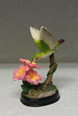Hummingbird Figurine Three Flowesr Pink Outside Birds Figurines Hummingbirds