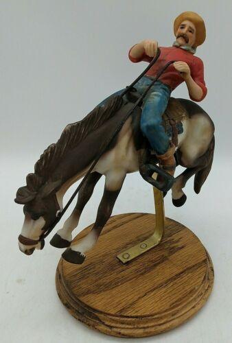 "Cowboy Rider Equestrian Horse Bucking Bronco Old West Ceramic Pony Figurine 7.5"""