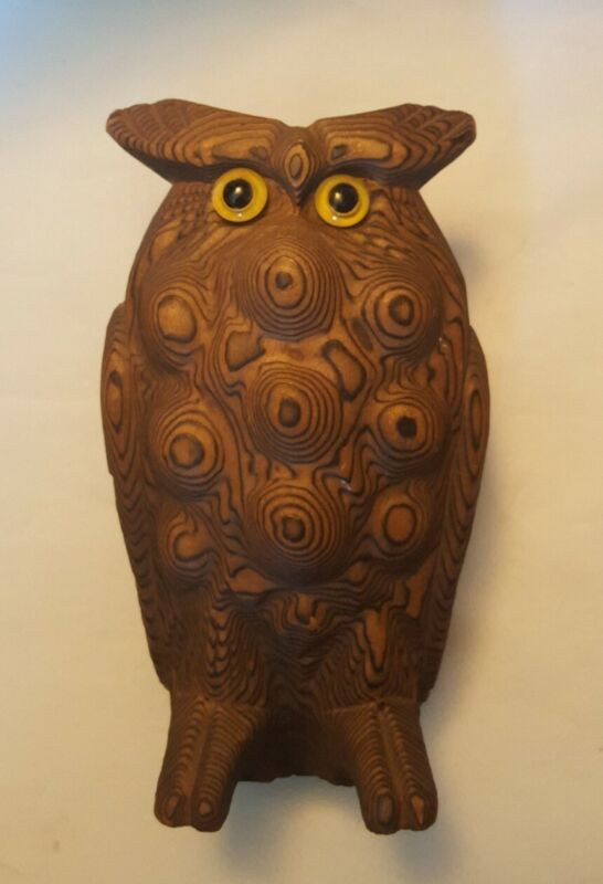 "Vintage Mid Century Cryptomeria Carved Wood Horned Owl 6"" BEAUTIFUL (AB1-2)"