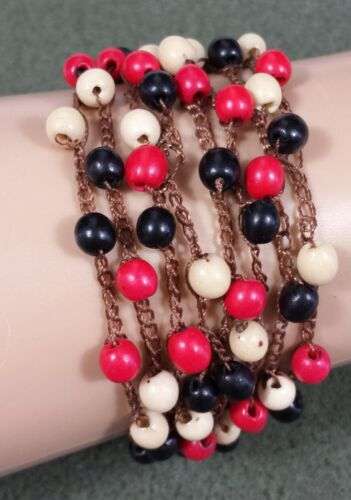 Jewelry Bracelet Adjustable Red Black Ivory Acrylic Bead Brown Cloth Chain 2628 - $9.99