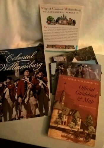 Lot of 2 Official Guide To Colonial Williamsburg  1976 & 2004 + map & post cards