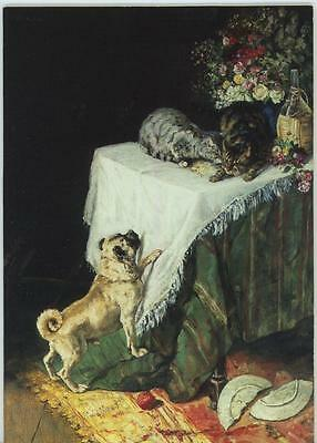 VINTAGE PUG DOG TABBY CATS GARDEN FLOWERS WINE JUG 1 RED SCHOOL HOUSE APPLE CARD