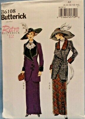 BUTTERICK PATTERN 6108 JACKET SKIRT RETRO 1912 MISSES SIZES  6 8 10 12 14 UNCUT