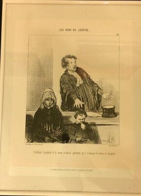 Karikatur von Honoré Daumier (Nachdruck), gerahmt, ca. 30 x 40 cm, gebraucht
