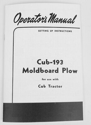 Ih International Farmall Cub 193 Moldboard Plow Operators Owners Manual