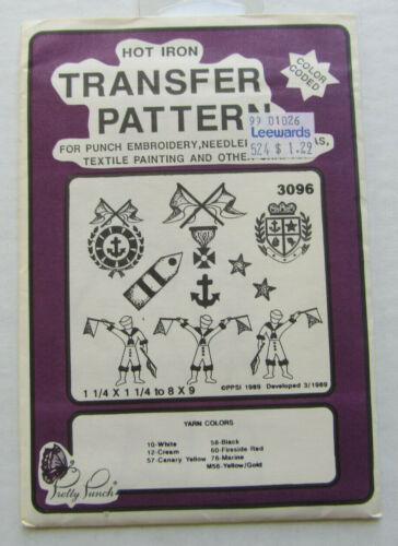Pretty Punch 3096 Sailor Anchor Hot Iron Transfer Pattern Punch Embroidery