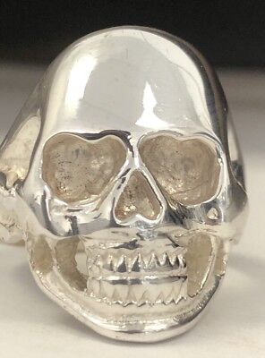 Solid Silver Mens Skull Ring Large Biker Sterling Silver Nt Scrap Gothic 925 New