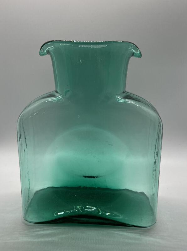 Vintage Blenko Art Glass Carafe Double Spout Water Pitcher Jug Teal Green