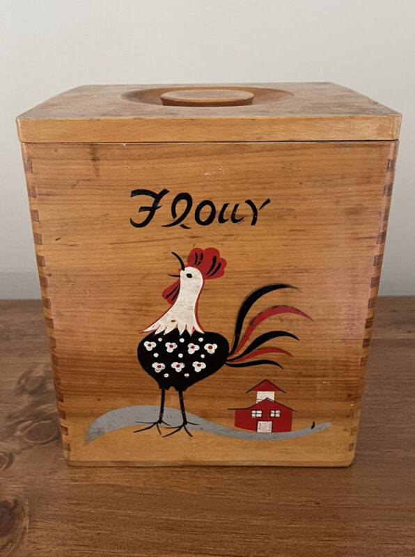 Vintage Wooden Nesting Kitchen Canister Set Hand-Painted Roosters, Set Of 3