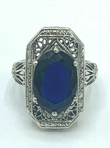 3.11 CT OVAL SAPPHIRE VINTAGE GEOMETRIC LATE ART DECO RING 14K WHITE GOLD OVER