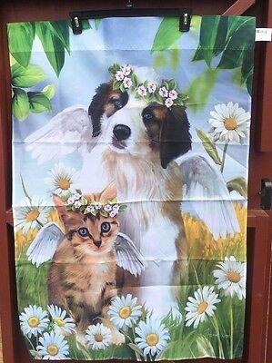 Large Outdoor Yard Flag Kitten Cat Dog Puppy Pet Angel Daisy Flower Memorial NEW