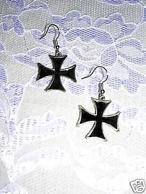 Iron Cross Earrings - NEW IRON CROSS MALTESE CROSS w BLACK INLAY PEWTER DANGLING WIRE HOOK EARRINGS