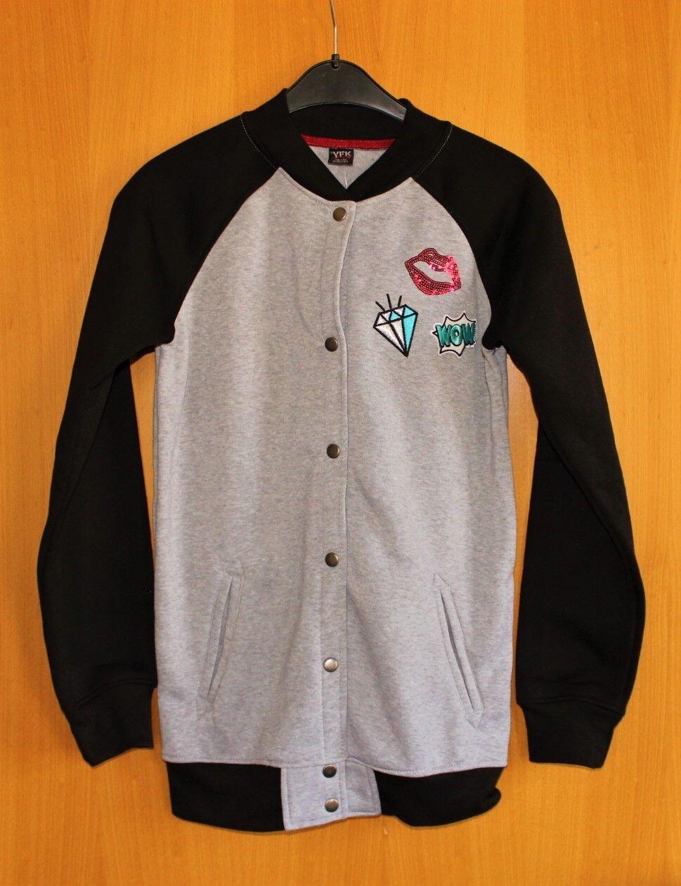 Mädchen Collegejacke Jacke Sweatjacke Baseballjacke schwarz grau WOW 158 164 NEU