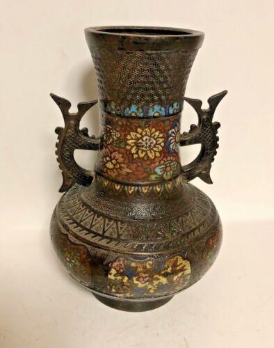 RARE OLD ORIENTAL ANTIQUE BRONZE CLOISONNE ENAMEL WORK DOUBLE HANDLED VASE CHINA