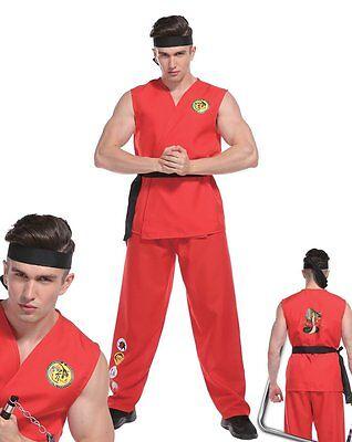 Deluxe Erwachsene Herren Straßenkämpfer Kostüm Kobra Ken Karate Kid Kungfu Karate Kid Kostüm