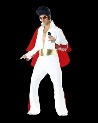 Mens Presley 1950s King Of Rock N Roll White Jumpsuit Costume Fancy Dress Elvis