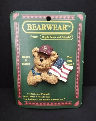 Boyds Bears BearWear Tommy BerryProud Patriotic American Flag Pin #26115